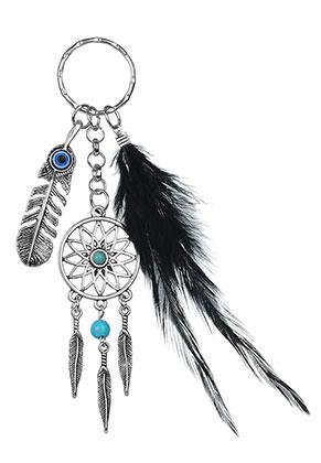www.misstella.com - Dreamcatcher key fob with feather