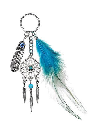 www.misstella.fr - Porte-clés capteur de rêves avec plume