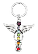 www.misstella.com - Metal key fob Rainbow Chakra angel 78x46mm - D24698