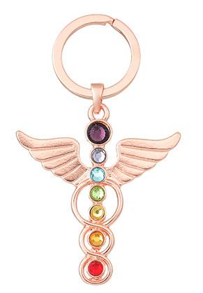 www.misstella.com - Metal key fob Rainbow Chakra angel 78x46mm