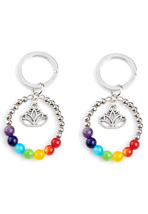 www.misstella.com - Natural stone Rainbow Chakra key fob 65x33mm