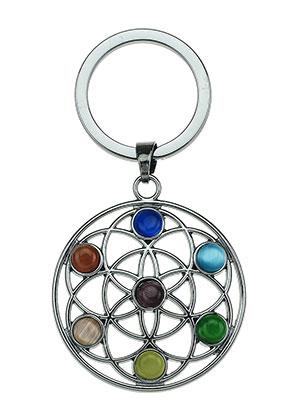 www.misstella.com - Metal key fob Rainbow Chakra flower of life 66x35mm