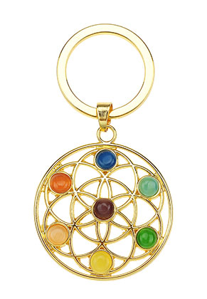 www.misstella.com - Metal key fob Rainbow Chakra flower of life 66x35mm