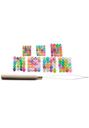 www.misstella.com - Set synthetic hair beads 6-9x6mm with threading pen