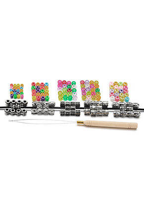 www.misstella.com - Set synthetic hair beads 4-25x6-10mm with threading pen