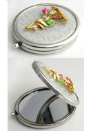 www.misstella.fr - Miroir de poche en métal avec fleurs, epoxy et strass 77x59mm - E00793