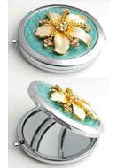 www.misstella.fr - Miroir de poche en métal avec fleur, epoxy et strass 77x70mm - E00795