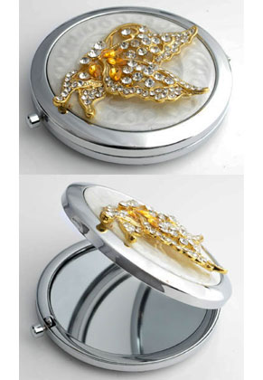 www.misstella.com - Metal pocket-mirror with butterfly, epoxy and strass 77x70mm