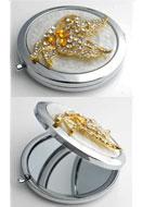 www.misstella.fr - Miroir de poche en métal avec papillon, epoxy et strass 77x70mm - E00796