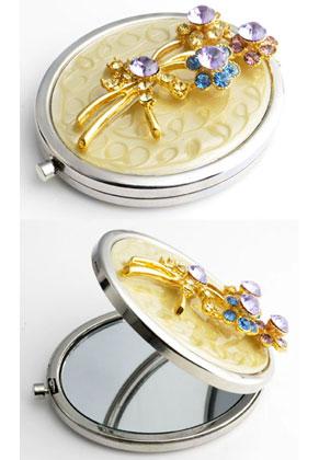 www.misstella.fr - Miroir de poche en métal avec fleurs, epoxy et strass 77x59mm