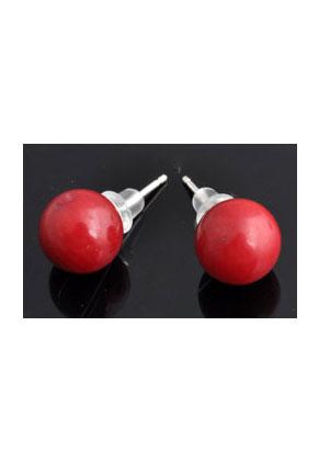 www.misstella.com - 925 Silver ear studs with Coral globe 20x9mm