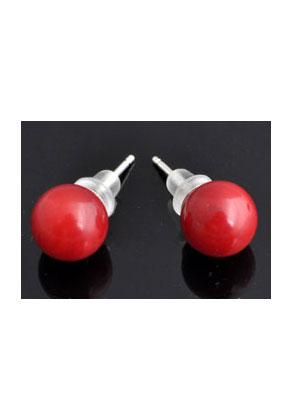 www.misstella.fr - Clous d'oreilles de 925 argent et corail globe 18x8mm