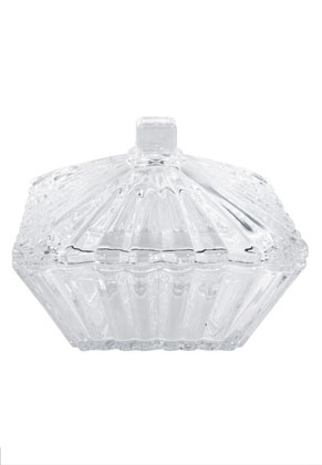 www.misstella.com - Rayher glass dish with lid ribbed square 11,5x11,5x9,5cm