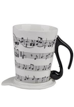 www.misstella.com - Cup with music notes and saucer/cover