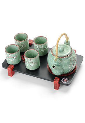 www.misstella.fr - Set à thé en céramique de quatre pièces avec plateau