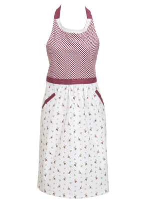 www.misstella.com - Clayre & Eef kitchen apron/cooking apron with roses 85x70cm