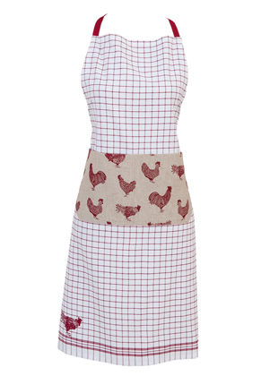 www.misstella.com - Clayre & Eef kitchen apron/cooking apron with chickens 85x70cm