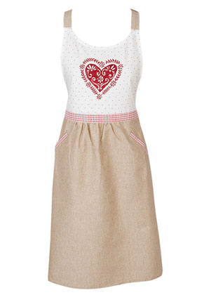 www.misstella.com - Clayre & Eef kitchen apron/cooking apron with heart 85x70cm