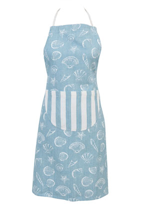www.misstella.com - Clayre & Eef kitchen apron/cooking apron with shells 85x70cm