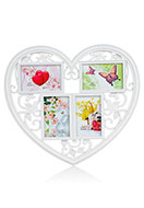 www.misstella.com - Multi photo frame heart with birds - F05776