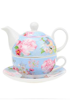 www.misstella.nl - Tea for one set met bloemen en vogel