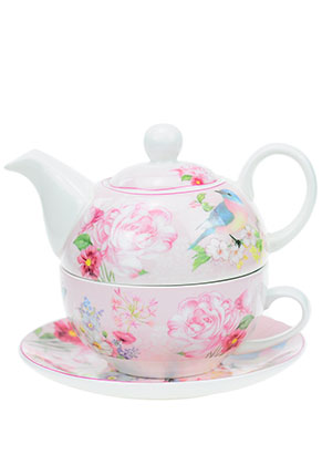 www.misstella.com - Tea for one set with flowers and bird
