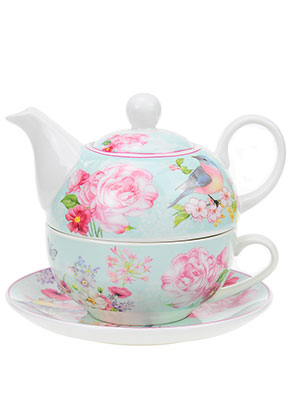www.misstella.nl - Tea for one set met bloemen en vogel