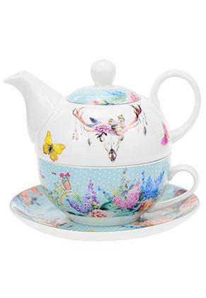 www.misstella.es - Juego de té para una persona con flores