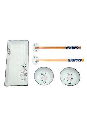www.misstella.nl - Sushi set met bord, schaaltjes, eetstokjes en oplegger voor eetstokjes