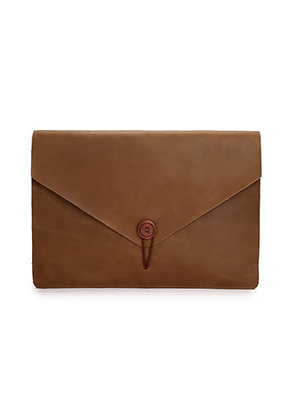 www.misstella.nl - Dunne leren laptop sleeve 15,6 inch 39,5x28x2cm