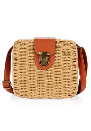 www.misstella.com - Imitation leather/straw shoulder bag 18x16cm