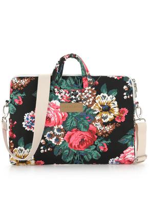 www.misstella.nl - Misstella laptop sleeve / laptoptas 15 inch met bloemen