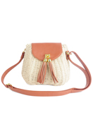 www.misstella.com - Imitation leather/straw shoulder bag 20x16x12cm - F06376