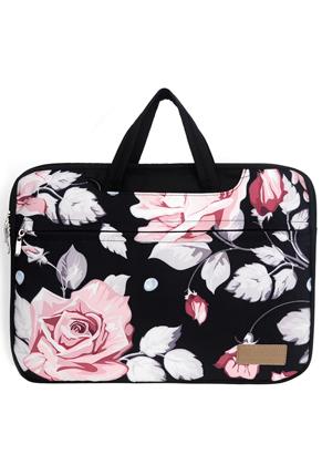 www.misstella.nl - Misstella laptop sleeve/laptoptas 15,6 inch - 16 inch met rozen 42x30x2,5cm