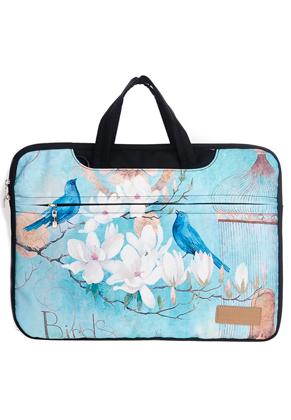 www.misstella.nl - Misstella laptop sleeve/laptoptas 15,6 inch - 16 inch met bloemen en vogels 42x30x2,5cm