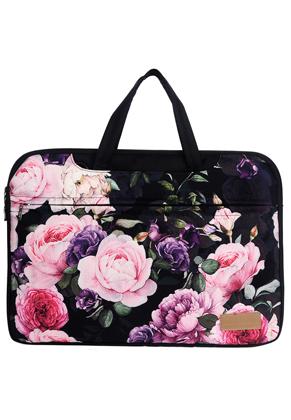 www.misstella.nl - Misstella laptop sleeve/laptoptas 15,6 inch - 16 inch met bloemen 42x30x2,5cm