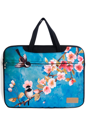 www.misstella.com - Misstella laptop sleeve/laptop bag 17 inch with flowers and birds 46x33x2,5cm