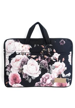 www.misstella.nl - Misstella laptop sleeve/laptoptas 17 inch met bloemen 46x33x2,5cm