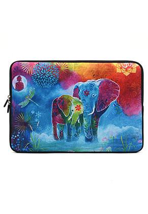 www.misstella.nl - Laptop sleeve 15,4 inch met olifanten 37x25,5x2cm