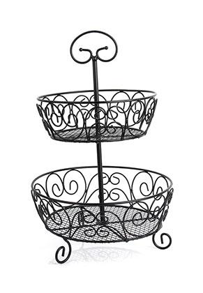 www.misstella.com - Metal etagere fruit bowl 2 layer 46x30cm