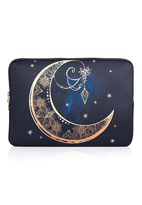 www.misstella.com - Laptop sleeve 13,3 inch with bohemian moon print 34x24x2cm