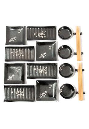 www.misstella.nl - Sushi set met borden, schaaltjes, eetstokjes en opleggers voor eetstokjes