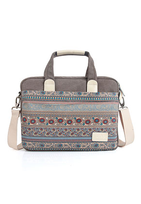 www.misstella.com - Canvas artisan laptop sleeve/laptop bag 15,6 inch with flowers 42x32x7cm