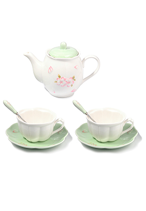 www.misstella.com - Two piece ceramic tea set with flowers