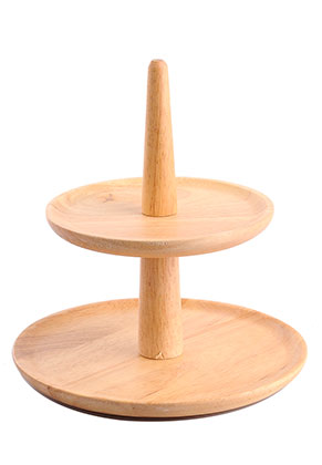 www.misstella.com - Wooden etagere fruit bowl 2 layer 21x20,5cm