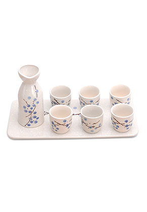 www.misstella.nl - Zesdelig keramieken sake set/ sake servies met dienblad