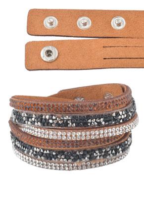 www.misstella.fr - Bracelet wrap en daim artificiel avec strass 17-19cm