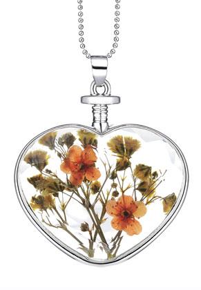 www.misstella.nl - Halsketting met glashanger met gedroogde bloemen 80cm