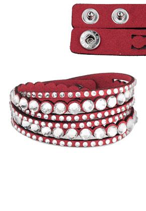 www.misstella.com - Imitation suede wrap bracelet with strass 17-18cm