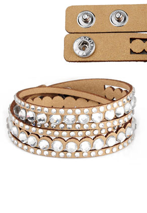 www.misstella.com - Imitation suede wrap bracelet with strass 17-18cm